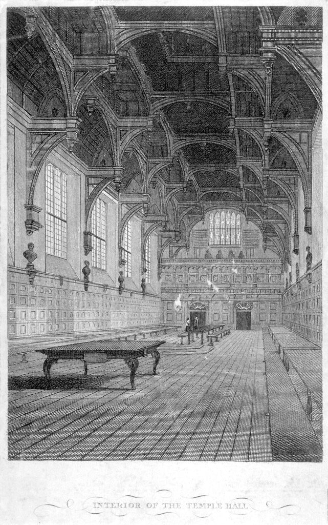 Detail of Interior view of Inner Temple Hall, City of London by