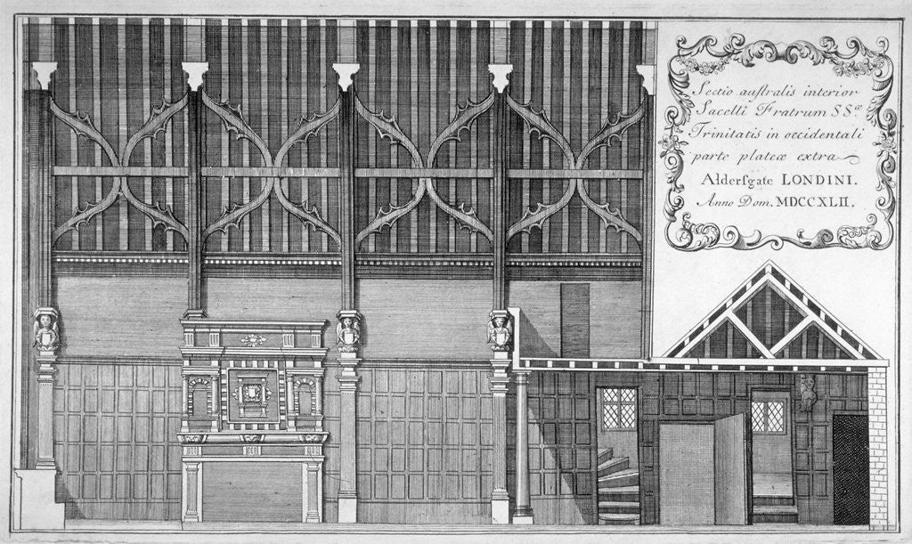 Detail of Interior elevation of Trinity Hall, City of London by