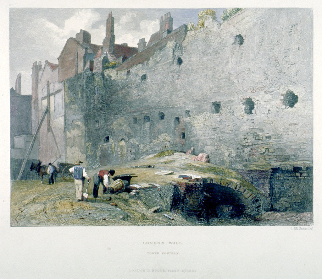 Detail of View of Tower Postern and London Wall with men digging, City of London by John Wykeham Archer