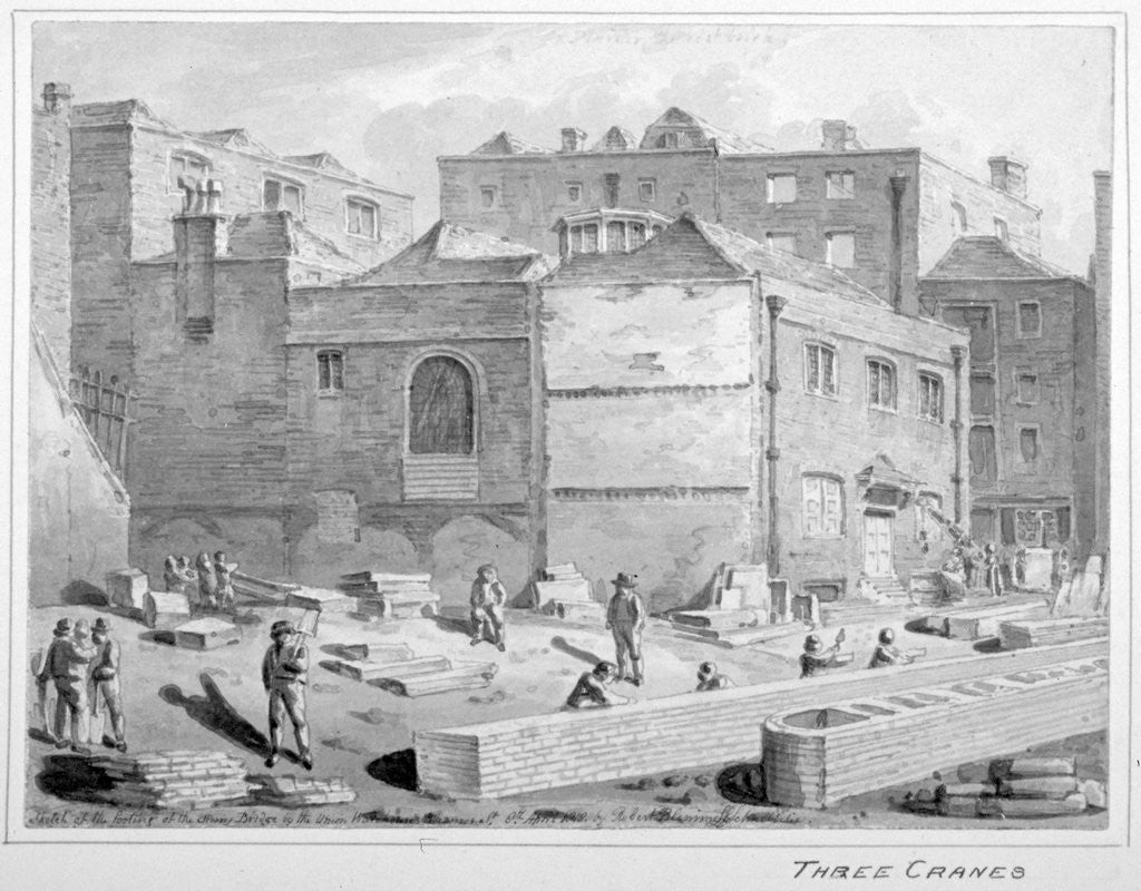 Detail of Footing for Southwark Bridge by the Union Warehouse, Upper Thames Street, City of London by Robert Blemmell Schnebbelie