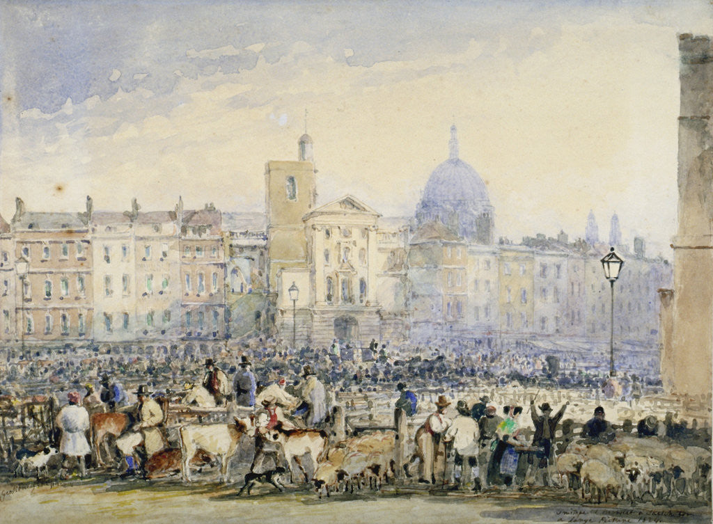 Detail of View of Smithfield Market with figures and animals, City of London by