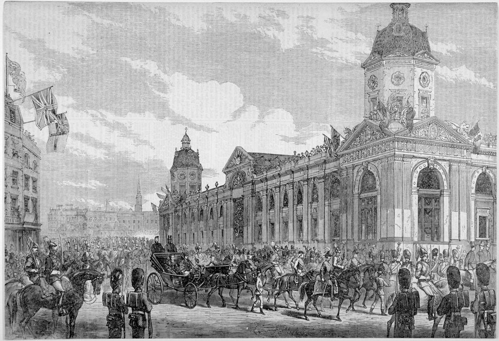 Detail of Royal procession passing Smithfield Market, City of London, 6th November 1869 by