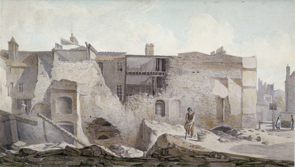 Detail of View of the ruins of part of the Priory of Holy Trinity, Aldgate, City of London by Robert Blemmell Schnebbelie