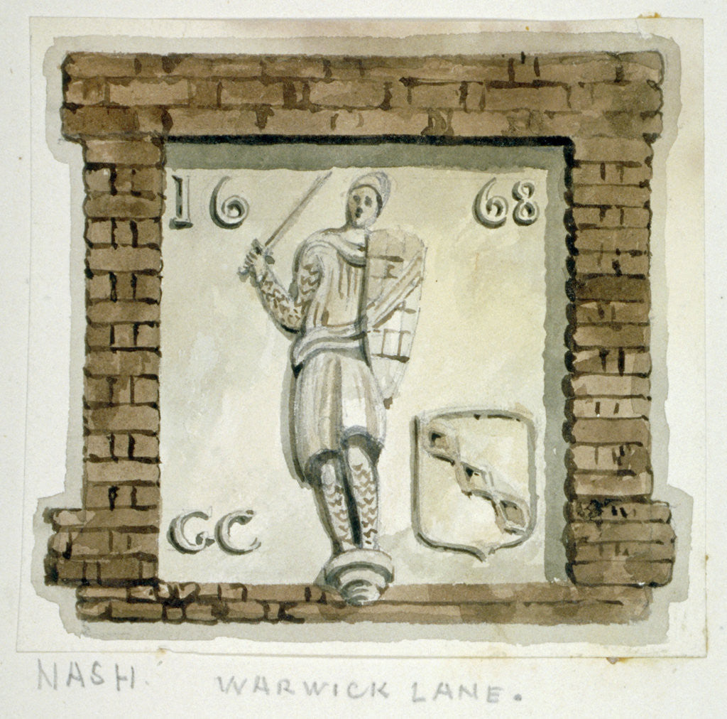 Detail of Effigy of Guy, Earl of Warwick, on the wall of a house in Warwick Lane, City of London by Frederick Nash