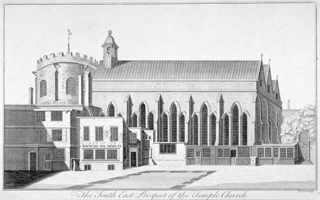 Detail of South-east view of Temple Church, City of London by Benjamin Cole