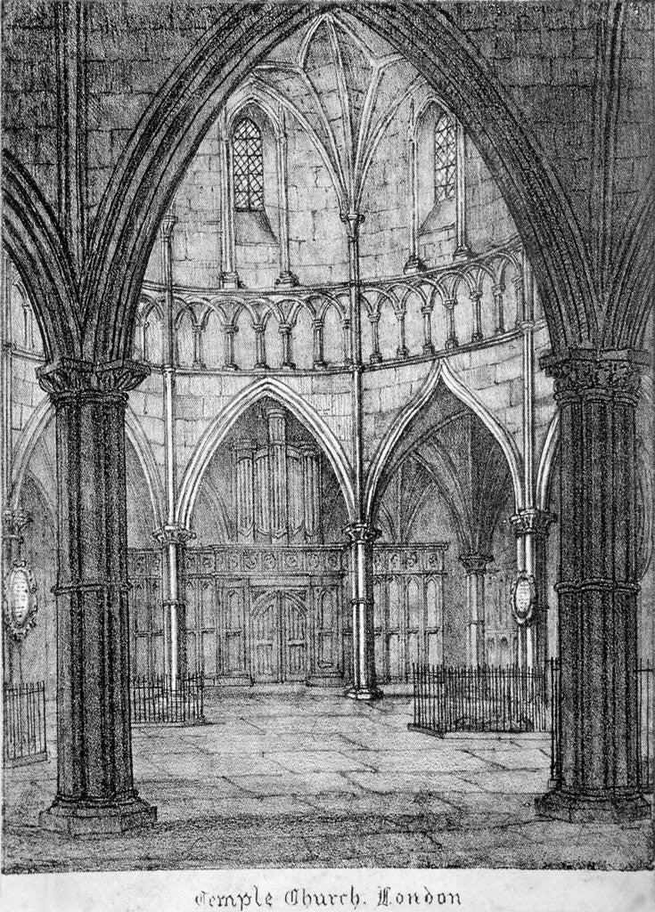 Detail of Interior view of Temple Church, looking towards the organ, City of London by