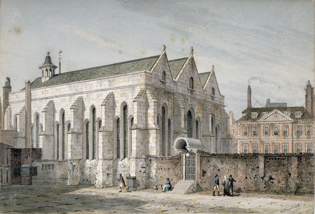 Detail of View of Temple Church, City of London by George Shepherd