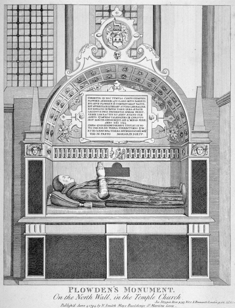 Detail of Memorial to Edmund Plowden, Treasurer of the Middle Temple, Temple Church, City of London by Anonymous
