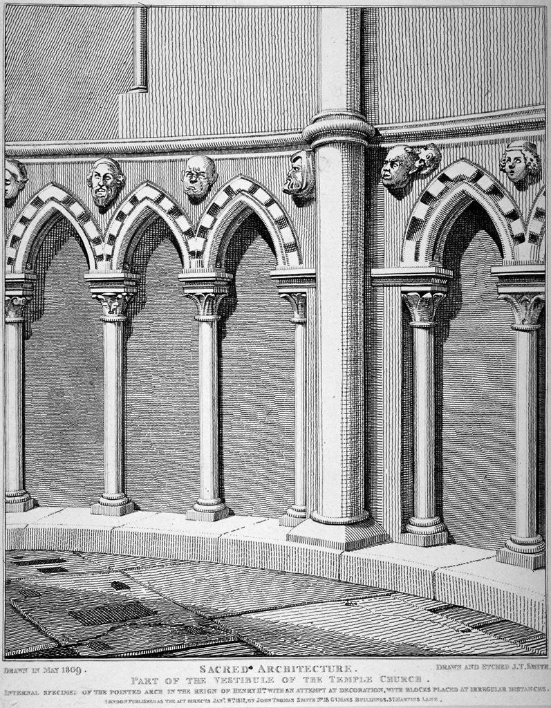 Detail of Part of the vestibule of the Temple Church, City of London by