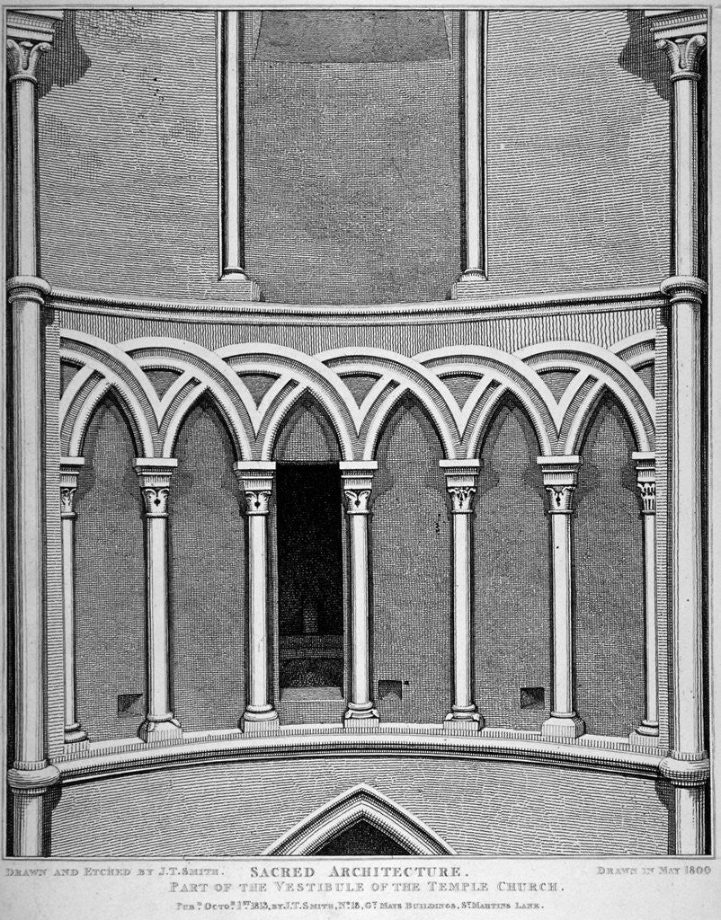 Detail of Part of the vestibule of the Temple Church, City of London by John Thomas Smith