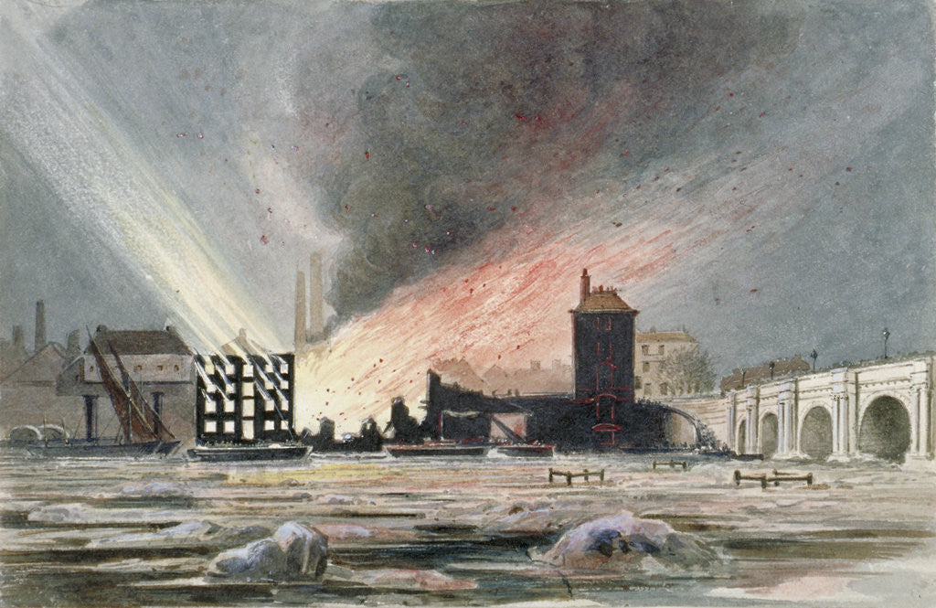 Detail of Destruction of Sir C Price's oil warehouse and wharf, William Street, Blackfriars, London by