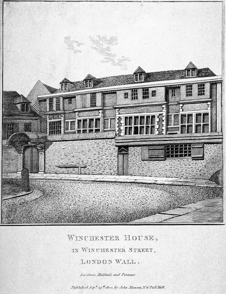 Detail of View of Winchester House in Winchester Place, London by John Thomas Smith