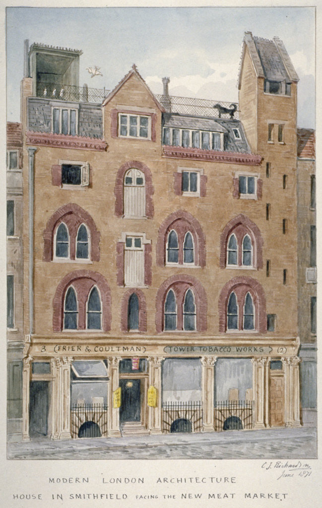 Detail of View of a house in West Smithfield facing the meat market, City of London by Charles James Richardson