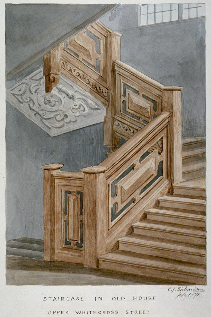 Detail of Staircase in a house on Whitecross Street, London by Charles James Richardson