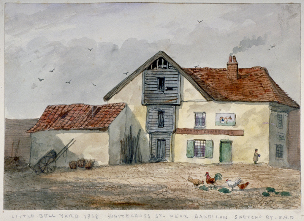 Detail of View of Little Bell Yard, Whitecross Street, with chickens in the foreground, London by EH Davies