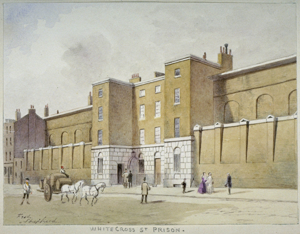 Detail of View of Whitecross Street Prison for debtors, London by Frederick Napoleon Shepherd