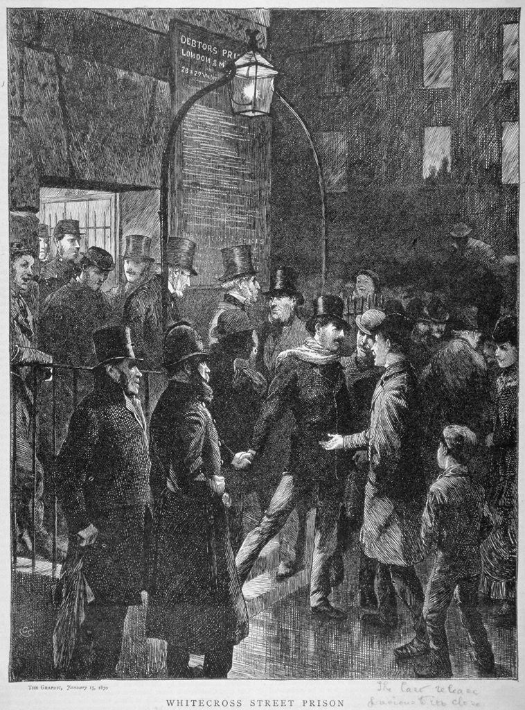 Detail of Scene at Whitecross Street Prison showing a release of prisoners, London by Anonymous