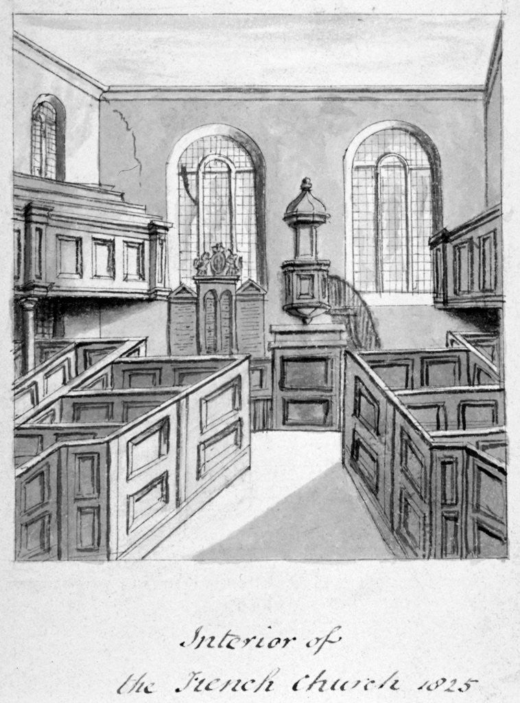 Detail of Interior view of the French Protestant Church, Threadneedle Street, City of London by