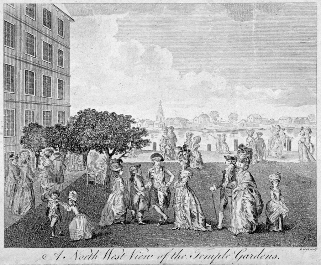 Detail of North-west view of Temple Gardens with figures walking and children playing, City of London by