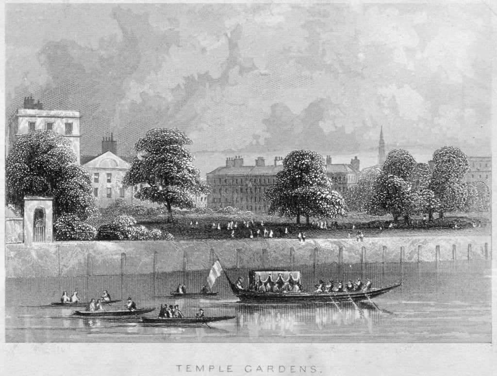 Detail of View of Temple Gardens from the Thames with boats on the river, City of London by Anonymous
