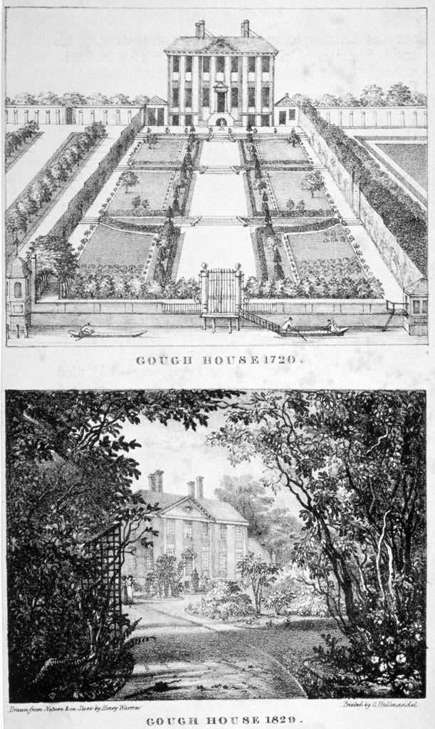 Detail of Two views of Gough House, West Road, Chelsea, London by Charles Joseph Hullmandel