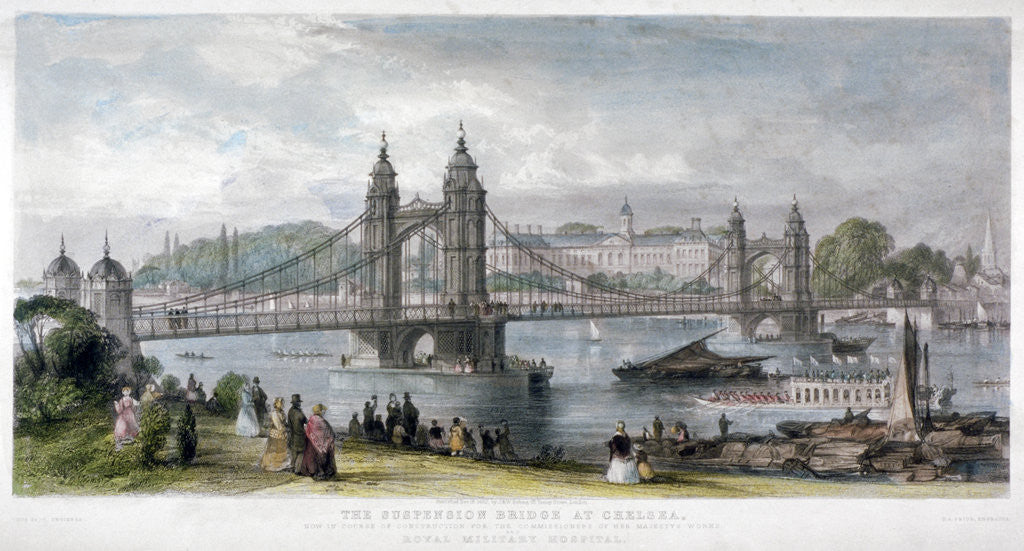 Detail of View of the suspension bridge at Chelsea, London by