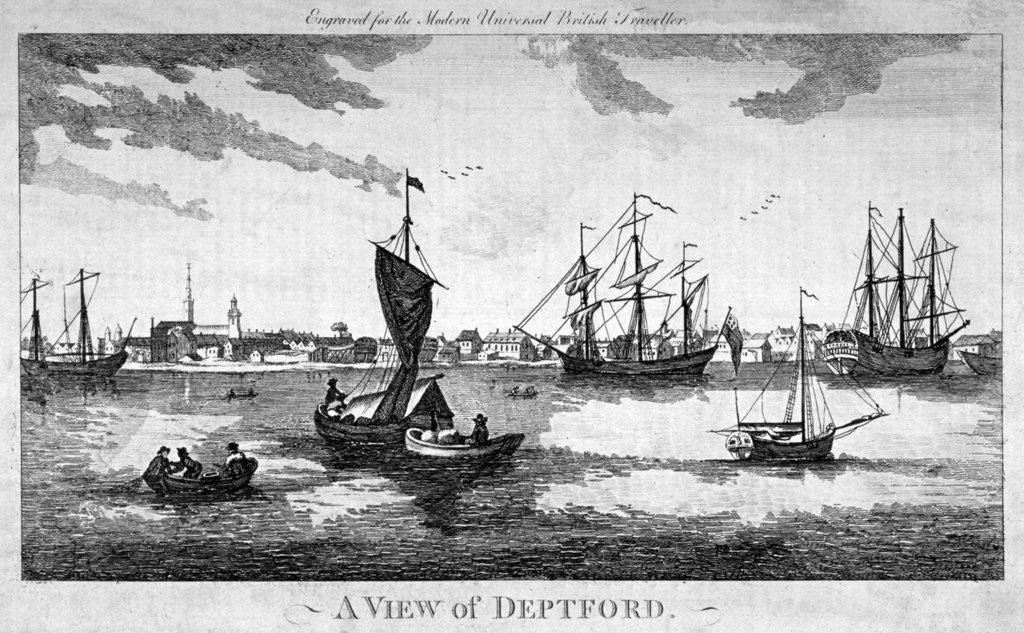 Detail of View of Deptford across the River Thames, London by Anonymous
