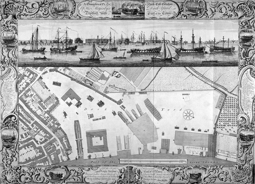 Detail of Deptford Docks, London by Pierre-Charles Canot