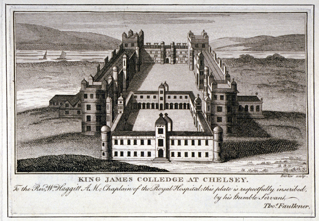 Detail of Bird's-eye view of King James's College, Chelsea, London by