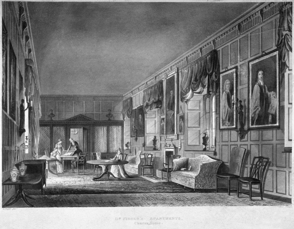 Detail of Interior view of Dr Fisher's apartments, Charterhouse, Finsbury, London by Joseph Constantine Stadler