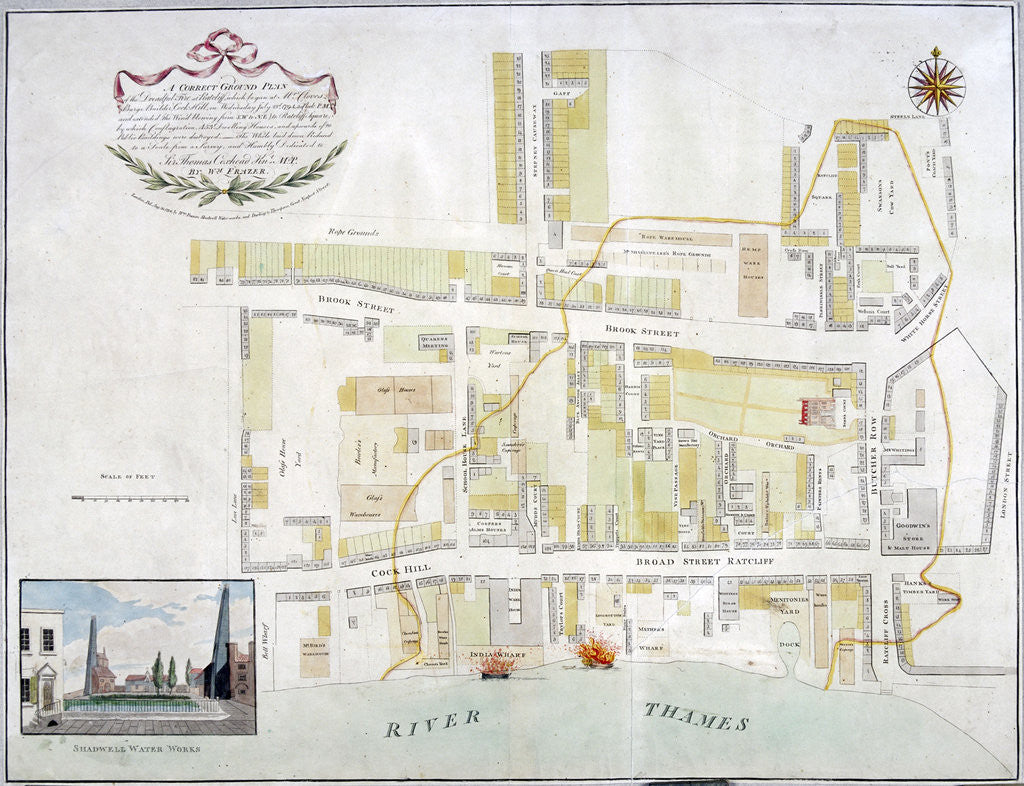 Detail of Plan of the fire that took place at Ratcliff in Stepney, London, in 1794 by Anonymous