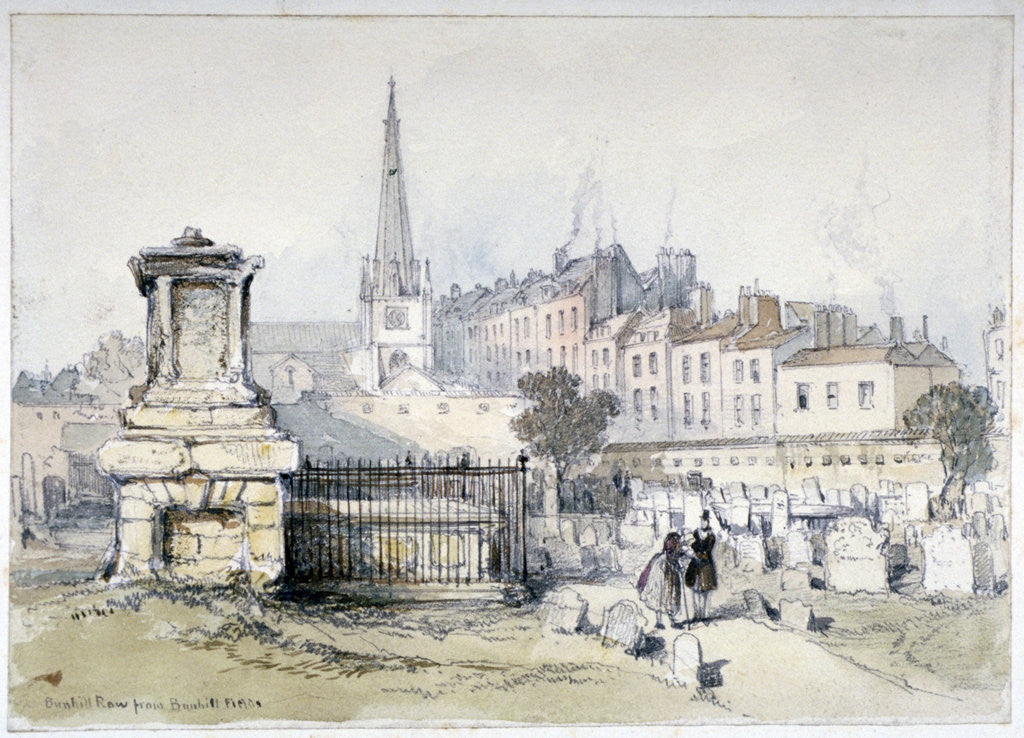 Detail of View of Bunhill Row from Bunhill Fields, Finsbury, Islington, London by Thomas Colman Dibdin