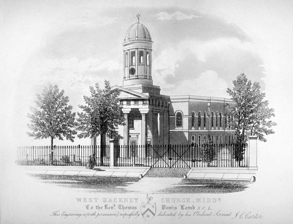 Detail of View of St James' Church, West Hackney, London by