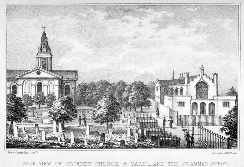 Detail of Back view of the Church of St John at Hackney and a grammar school, London by Dean and Munday