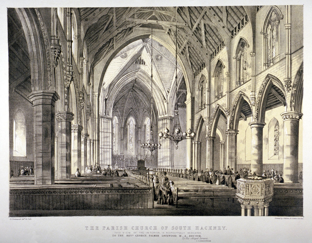 Detail of Interior view of the Church of St John of Jerusalem, Hackney, London by CJ Greenwood