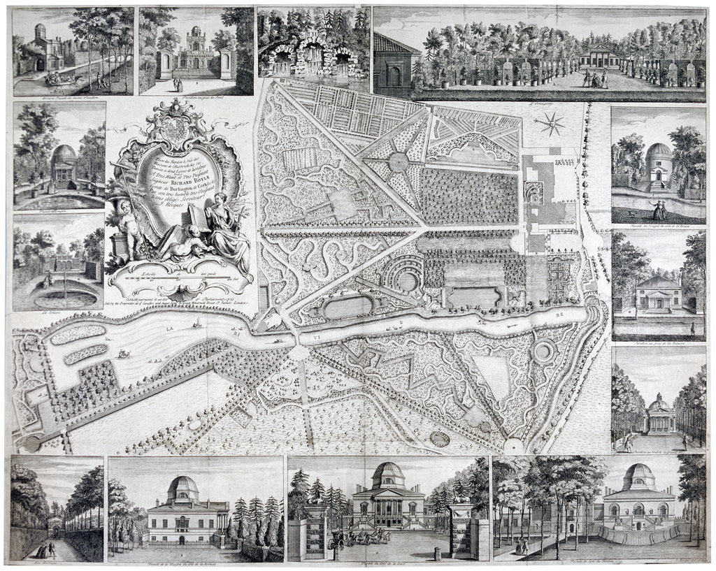 Detail of Map of Chiswick in the London borough of Hounslow by John Rocque