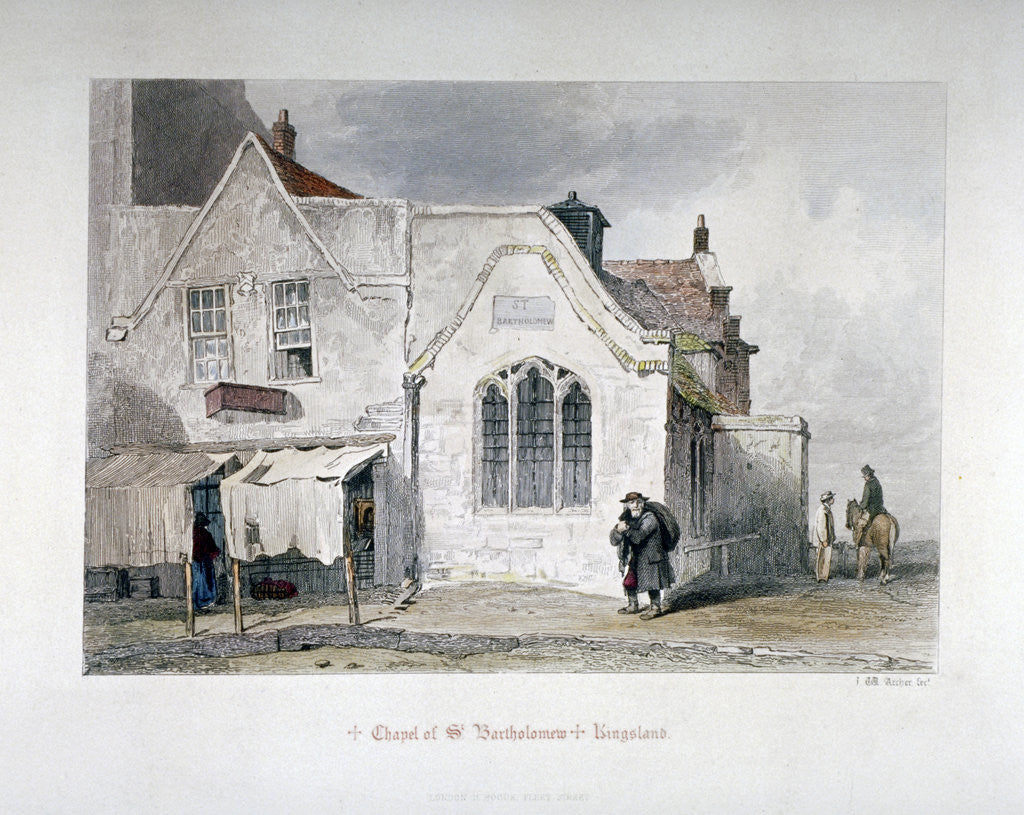 Detail of View of St Bartholomew's Chapel, Kingsland Road, Hackney, London by John Wykeham Archer