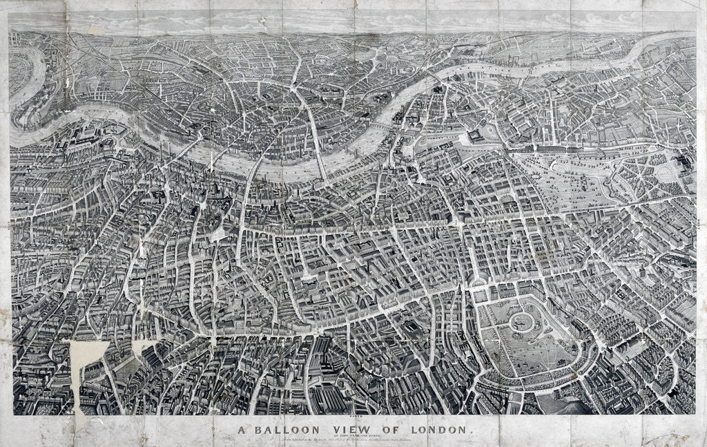 Detail of View of London from the north as seen from a balloon by Anonymous
