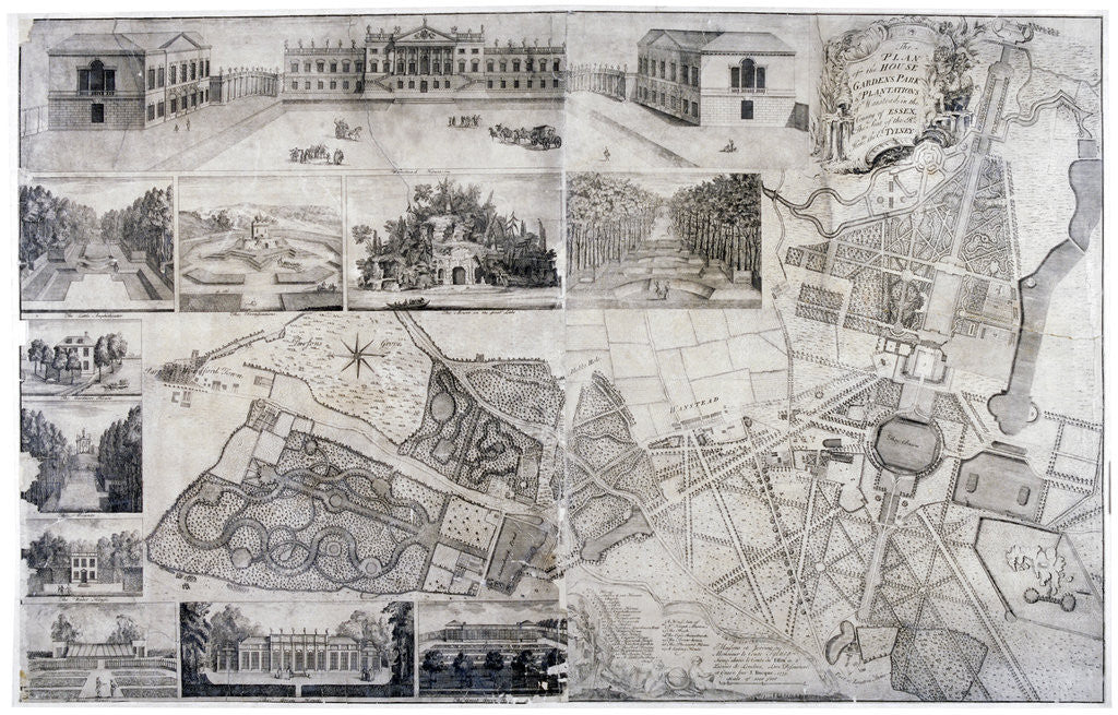 Detail of Plan and views of Wanstead House and Park in the borough of Redbridge, London by Anonymous