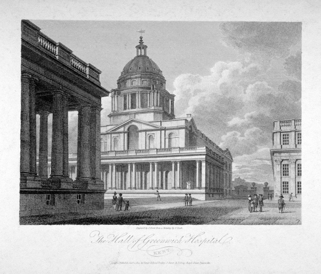 Detail of View of the Hall of Greenwich Hospital, London by James Sargant Storer
