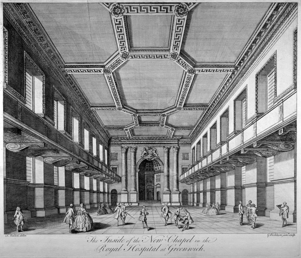 Detail of Interior view of the new chapel, Royal Naval Hospital, Greenwich, London by