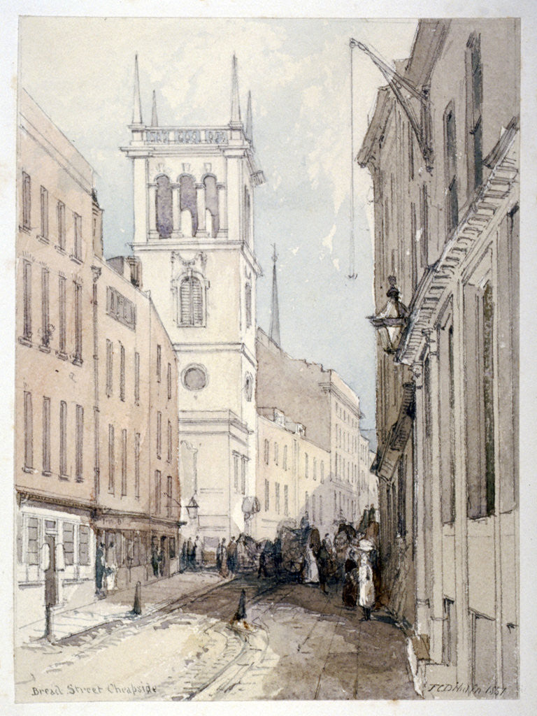 Detail of View of All Hallows Church, buildings and figures on Bread Street, City of London by Thomas Colman Dibdin