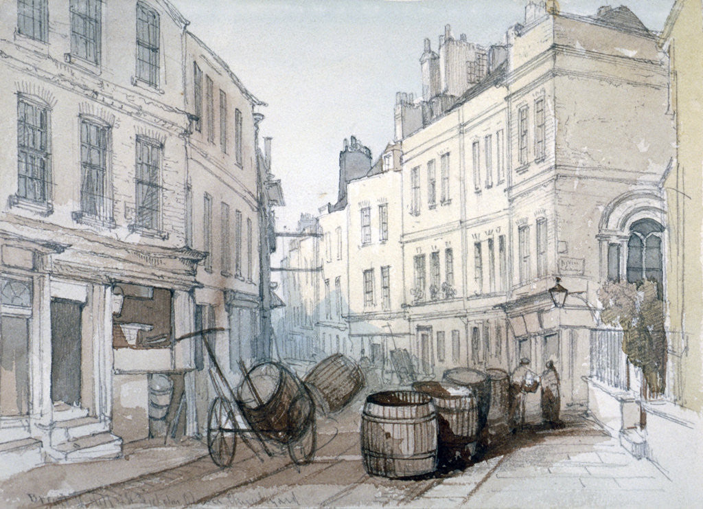 Detail of Bread Street Hill and St Nicholas Olave Churchyard, City of London by Thomas Colman Dibdin