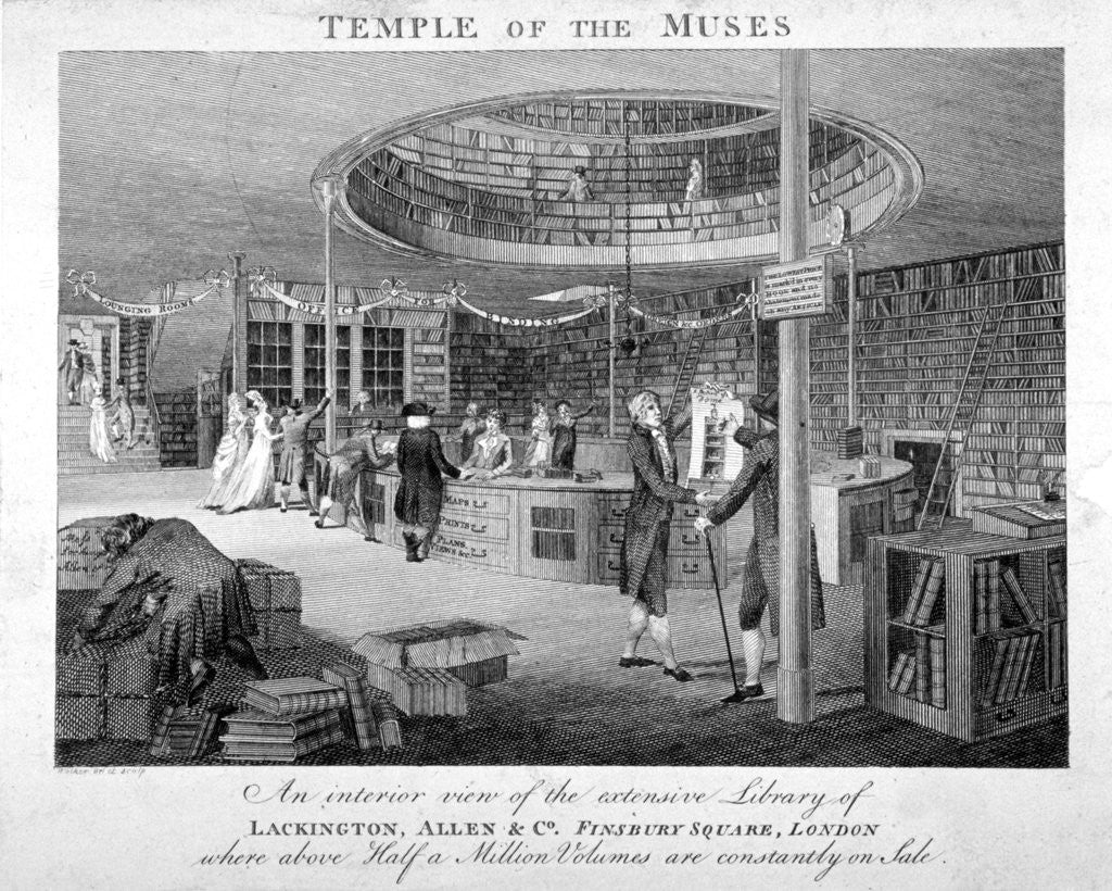 Detail of The Temple of the Muses Bookshop in Finsbury Square, London by