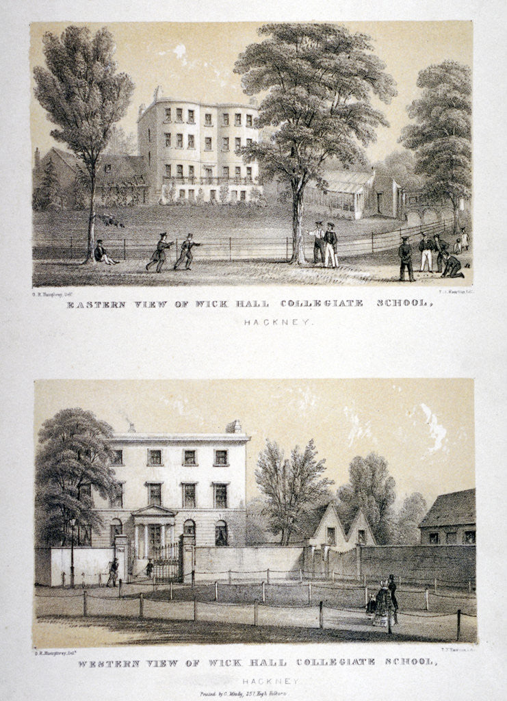 Detail of Two views of Wick Hall Collegiate School, Hackney, London by TJ Rawlins