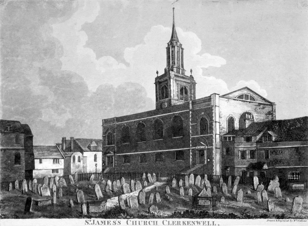 Detail of View of the church and graveyard of St James Clerkenwell, London by William Fellows