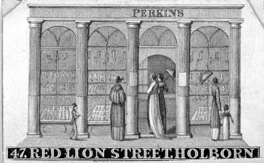Detail of Shop front of Perkins ladies' shoe shop at 47 Red Lion Street, Holborn, London by Anonymous