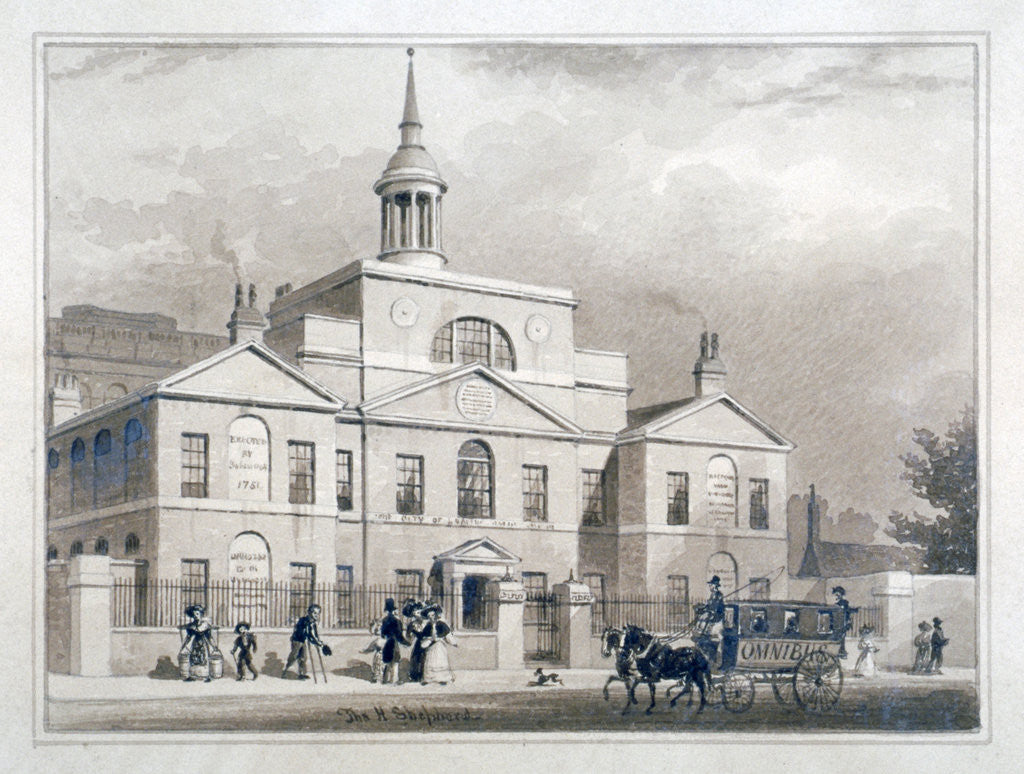 Detail of City of London Lying-In Hospital, City Road, Finsbury, London by Thomas Hosmer Shepherd