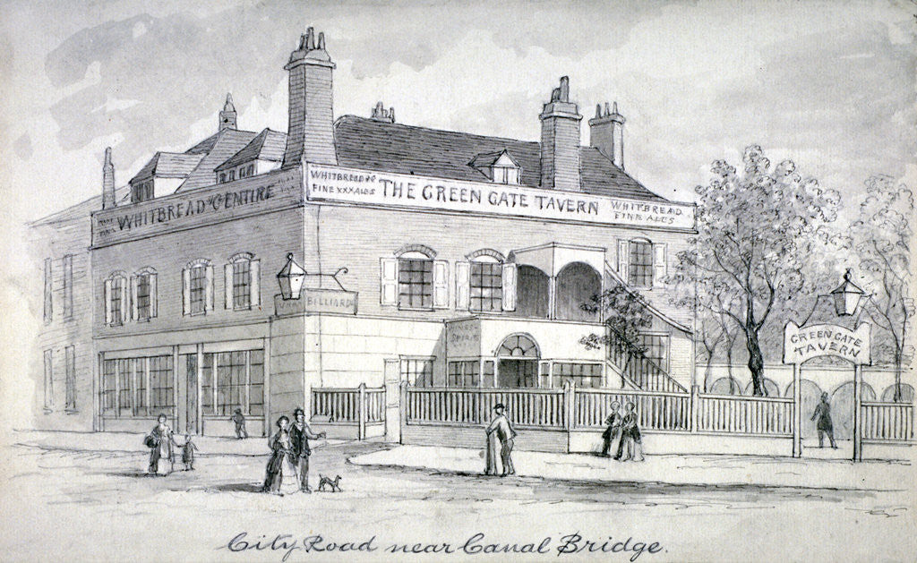 Detail of View of the Green Gate Tavern, City Road, Finsbury by Anonymous