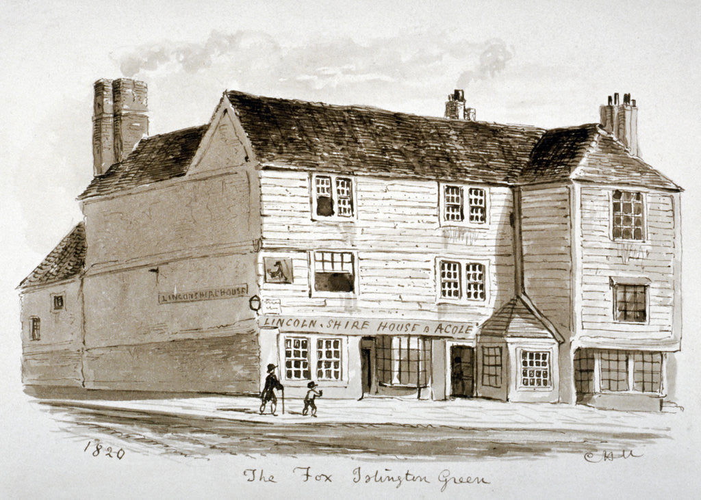 Detail of View of the Old Fox Inn, Islington, London by CH Matthews